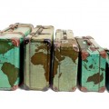 suitcases with world map