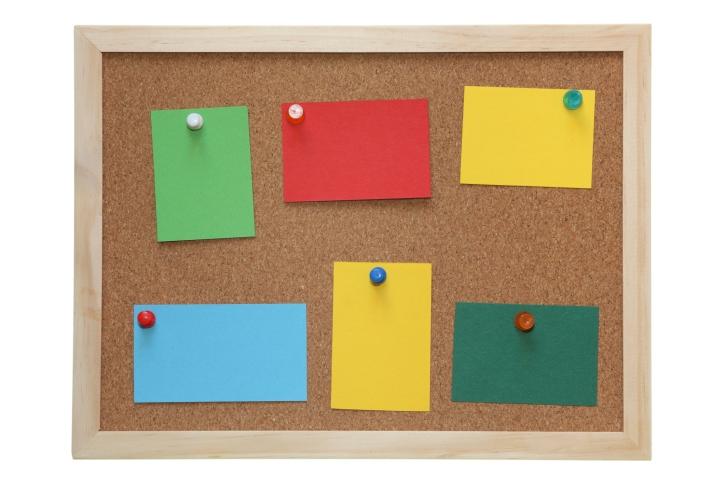 pinboard colored paper