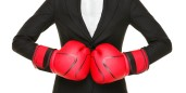 woman suit boxing gloves