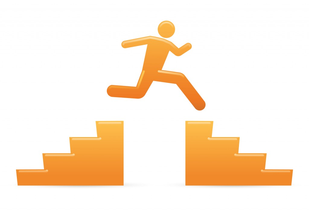 Orange man jumping stairs overcoming telecommuting obstacles