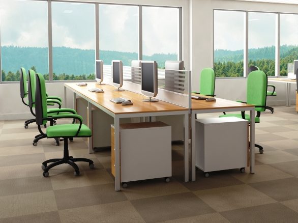 Desks at a company with a no-telecommuting mindset