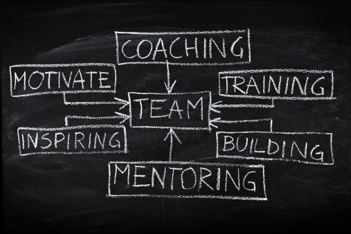 Chart on a blackboard to find a career mentor.