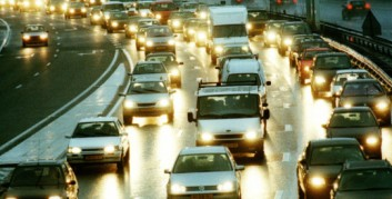 Cars Stopped in Rush Hour Traffic