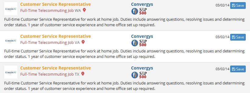 remote jobs at convergys screenshot