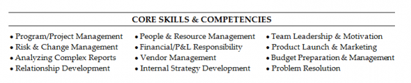 core competencies for resumes
