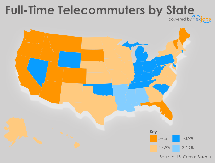 Full-Time Telecommuters by State, by FlexJobs 2015