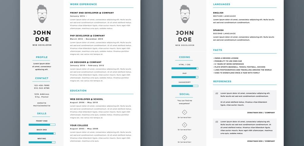 Various examples of resume headers