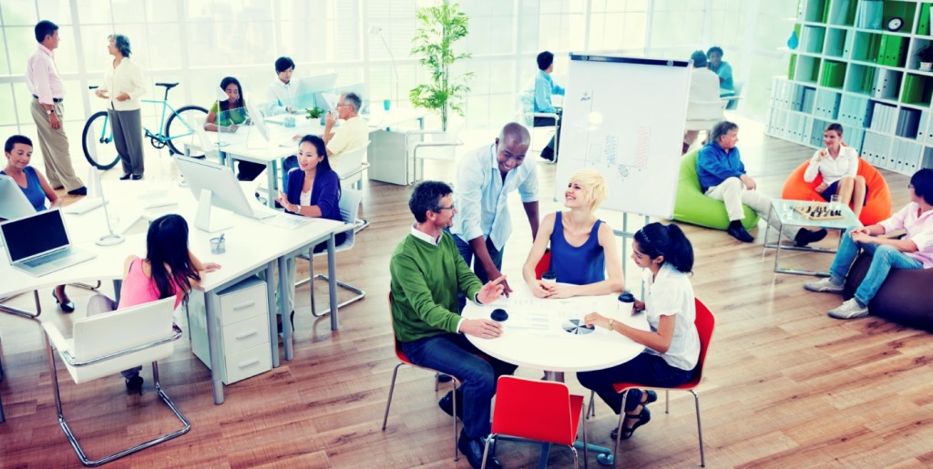 Workers working in a coworking space