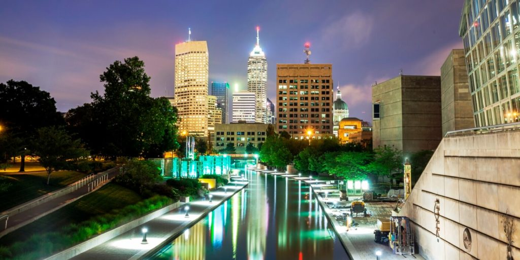 Job seeker looking at the city thinking about finding flexible jobs in Indianapolis, Indiana.
