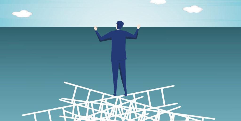 Job seeker on a ledge upset about a lack of flexible job opportunities