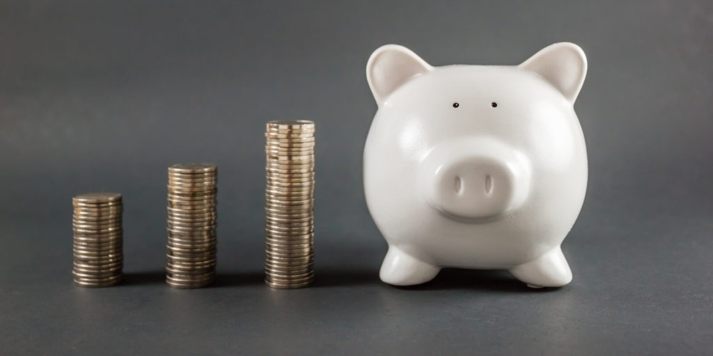 Piggy bank of a workers with high salary telecommuting jobs.