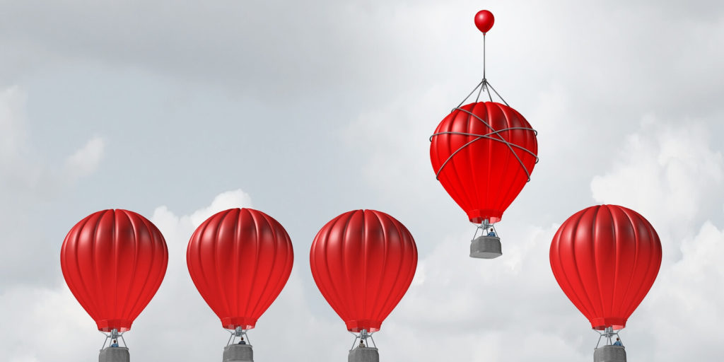 Balloons representing job search hacks.