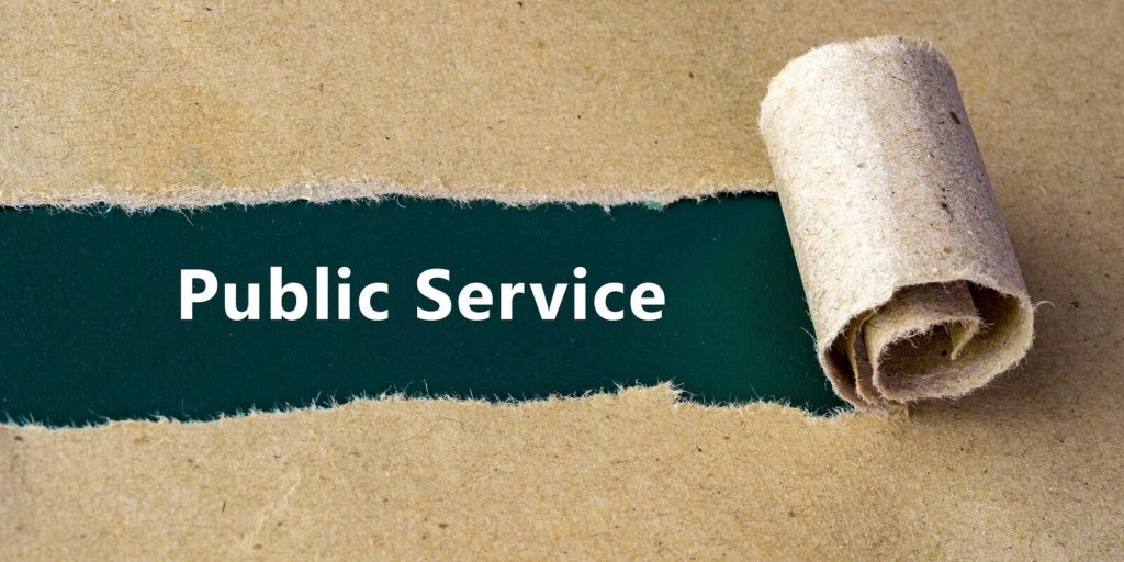 Public service sign for part-time government jobs