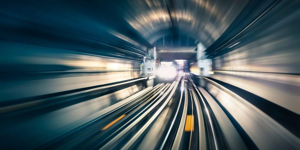 Train on a long commute.