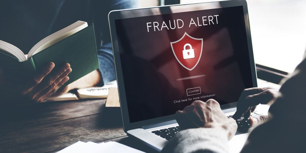 Fraud alert on a screen for recruitment fraud