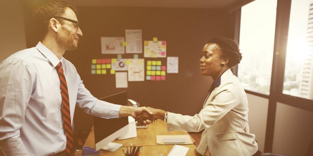 Job seeker in an interview making a good first impression