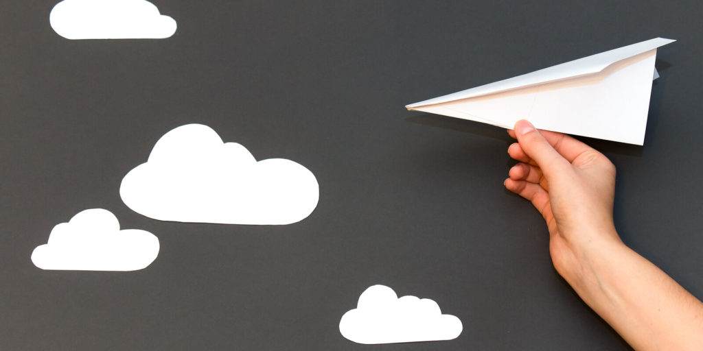 A letter of inquiry in the form of a paper airplane.