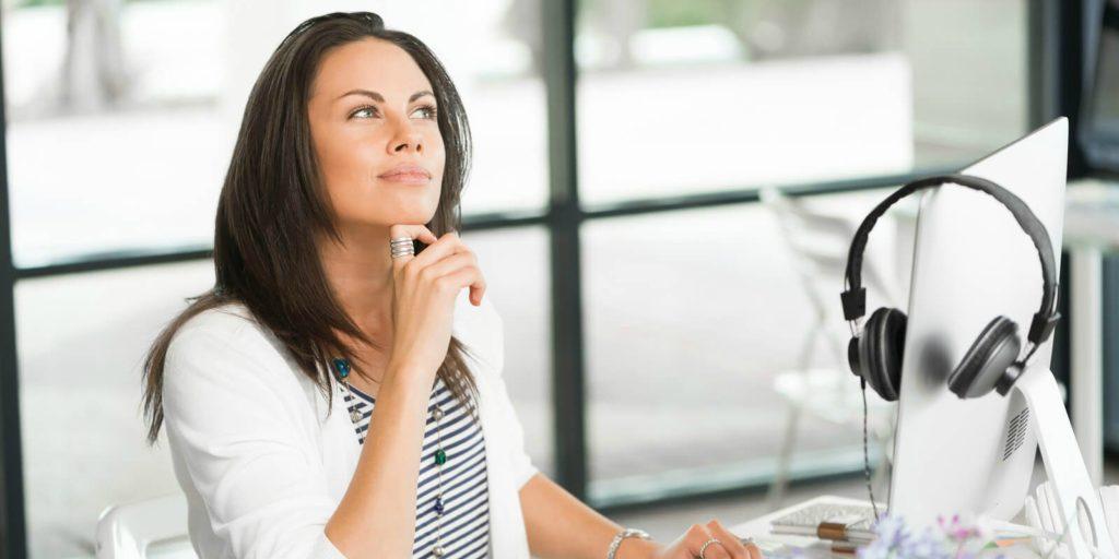 Job seeker thinking about workplace flexibility.