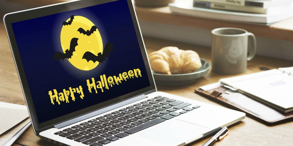 Computer being used to celebrate Halloween.