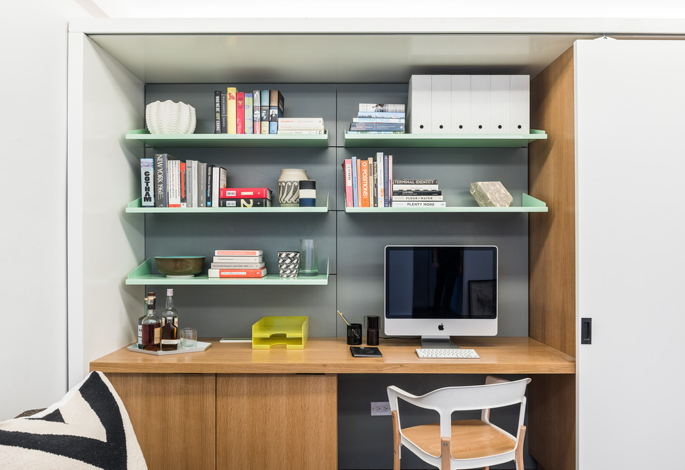the storage desk is an idea for a cool home office