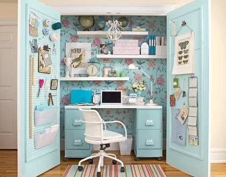 the closet office is a cool home office idea