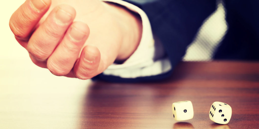 Job seeker rolling the dice seeing how luck played a role in your career