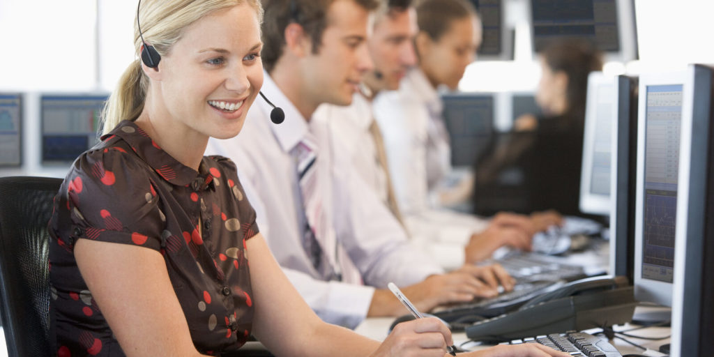 Woman with a call center job.