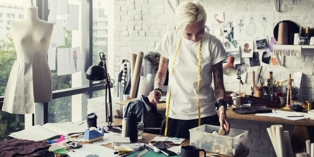 Fashion designer exploring flexible fashion jobs.