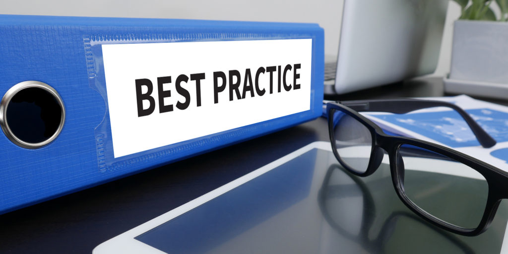 "Blue binder with the words ""best practices"" on it"