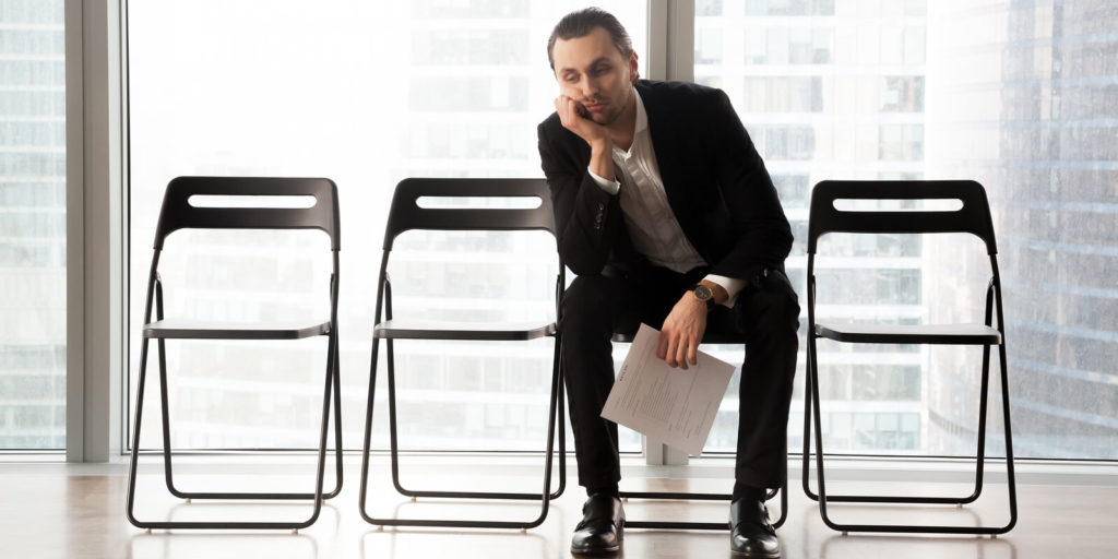 Man interviewing in a toxic company culture.