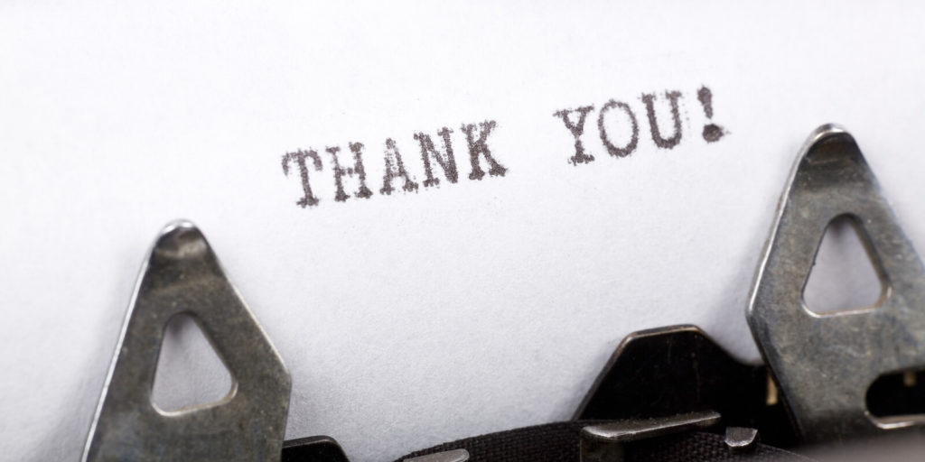 Type writer typing thank you to someone their thankful for in your career