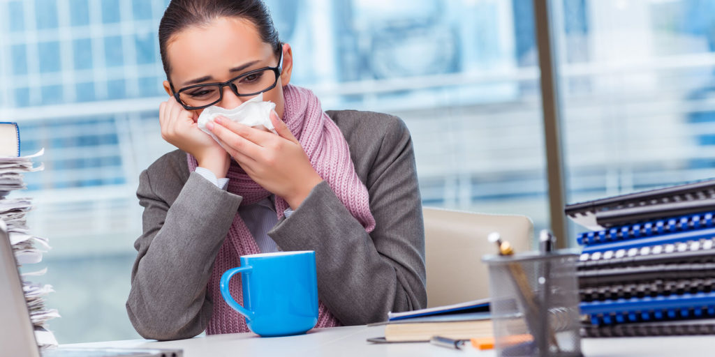 Woman discovering the perks of working remotely, fewer office germs
