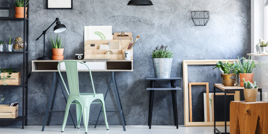 Eco-friendly products in a green home office