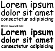 An example of Comic Sans font