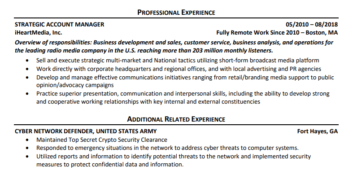 A sample of the additional related experience section on a hybrid resume for older workers
