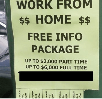 flyers in public job search scam