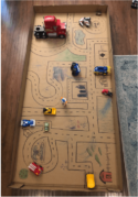 """A picture of the """"box town"""" a FlexJobs employee had her child create, while working from home."""