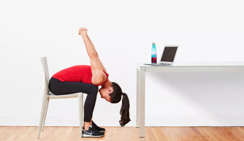 seated forward bend desk yoga