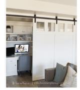 Closet Office with a Curtain Door