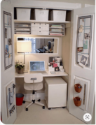 Closet Office with pegboard storage
