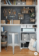 Closet office with a chalkboard wall