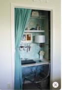 Closet office featuring a curtain door