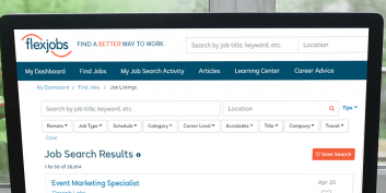 FlexJobs keyword search filters